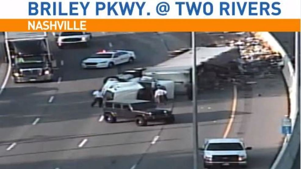 CODE RED: Overturned semi carrying trash blocking lanes on Briley