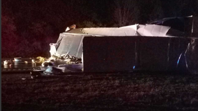 Overturned semi accident shuts down I-24 West at Old Hickory