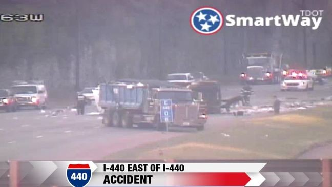 CODE RED: I-440WB down to one lane due to overturned dump